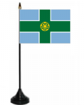 Derbyshire Desk / Table Flag with plastic stand and base.